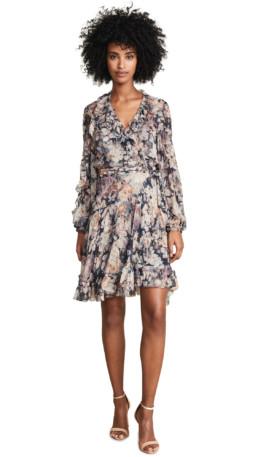 ZIMMERMANN Tempest Cascade Wrap Black / Floral Printed Dress
