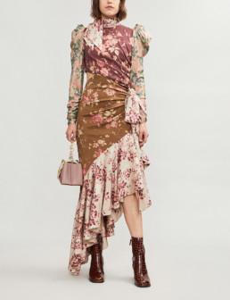 ZIMMERMANN Tempest Floral-Print Silk-Twill Spliced Dress