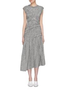3.1 PHILLIP LIM Cutout Back Ruffle Smocked Gingham Check Black-White Dress