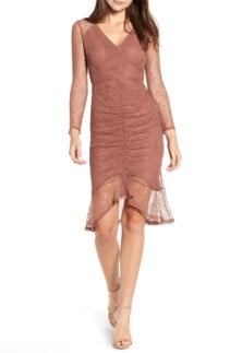 4SI3NNA Ruched Front Cutout Lace Rust Dress