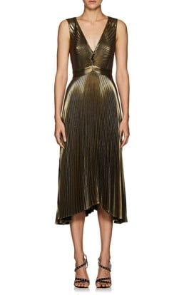 A.L.C. Marisol Pleated Lamé Gold Dress