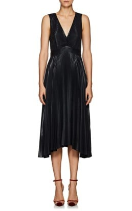 A.L.C. Marisol Pleated Lamé Midnight Dress