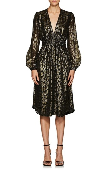 A.L.C. Samantha Leopard Pattern Silk Blend Midi Black / Metallic Dress