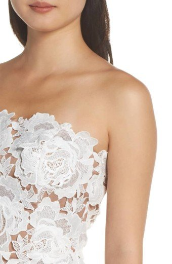 ADELYN RAE Jade Strapless Lace White Dress 4