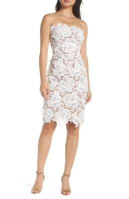 ADELYN RAE Jade Strapless Lace White Dress