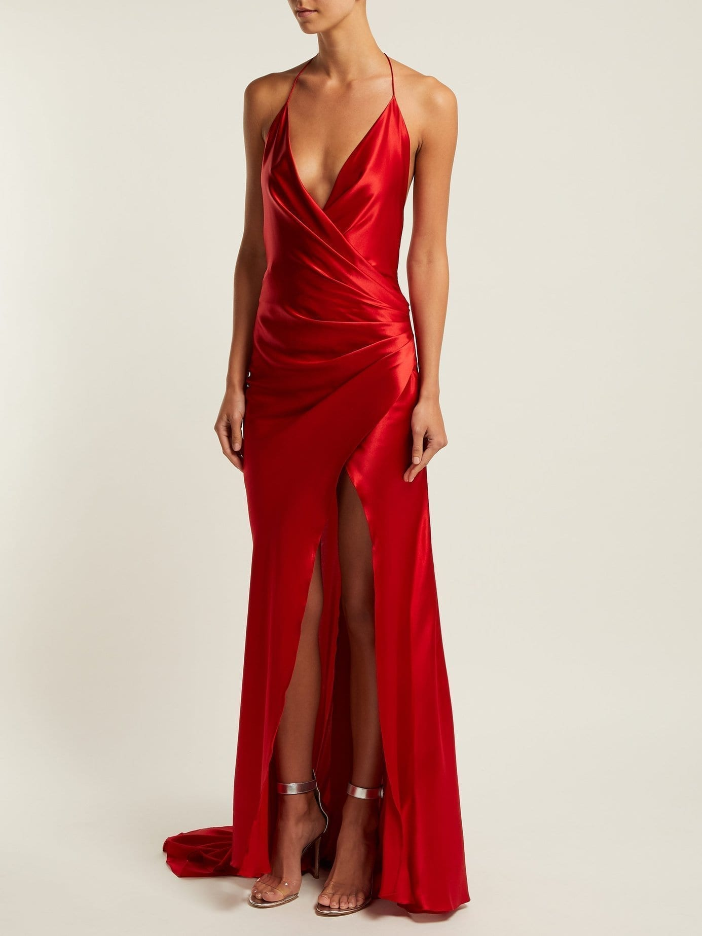 ADRIANA IGLESIAS Scarface Draped Silk Blend Red Gown