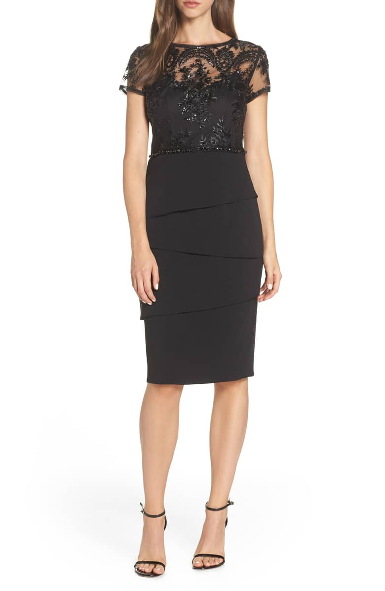 ADRIANNA PAPELL Sequin Cocktail Sheath Black Dress