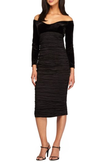 ALEX EVENINGS Off-the Shoulder Empire Waist Black Dress
