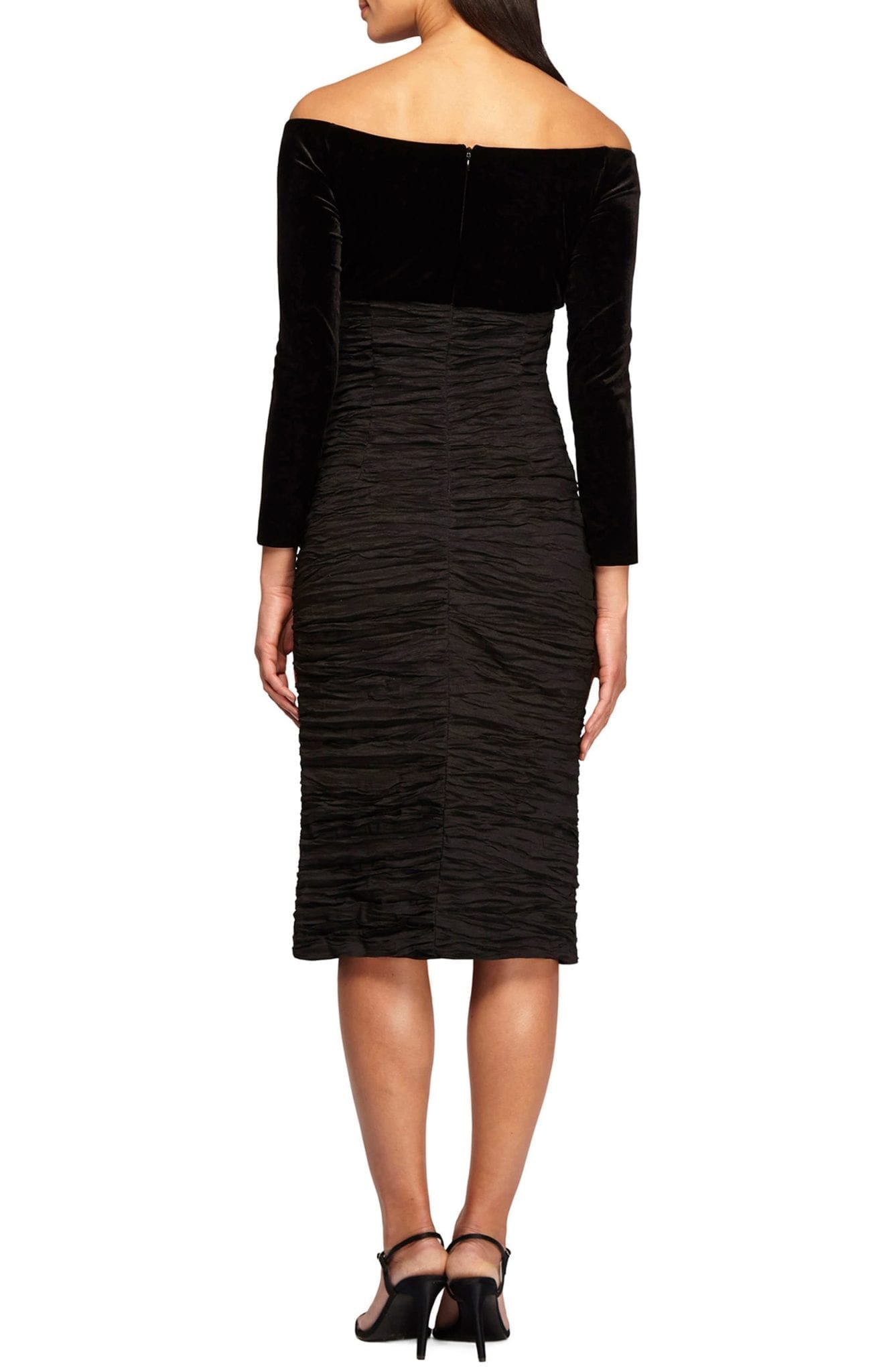 ALEX EVENINGS Off-the Shoulder Empire Waist Black Dress - We Select ...