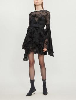 ALEX PERRY Buckley Flocked Silk Blend Black Dress