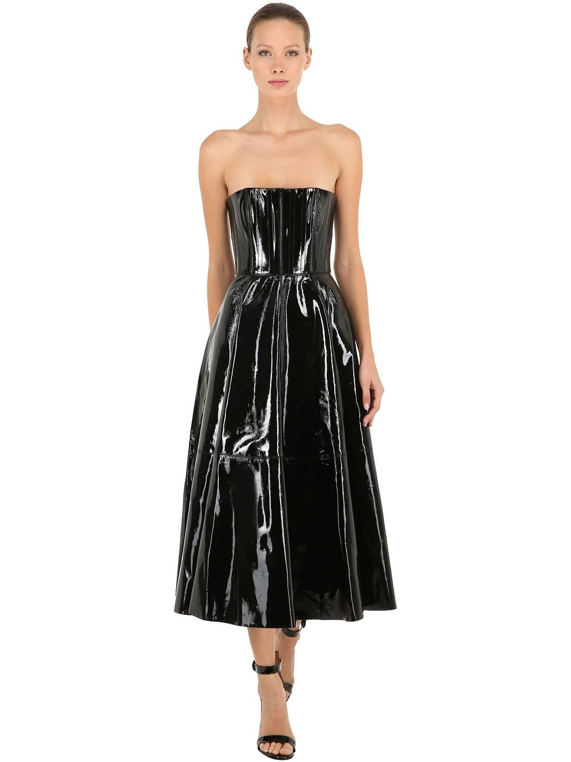 ALEX PERRY Patent Leather Bustier Black Dress