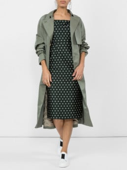 ALEXACHUNG Off Shoulder Sheath Green Dress