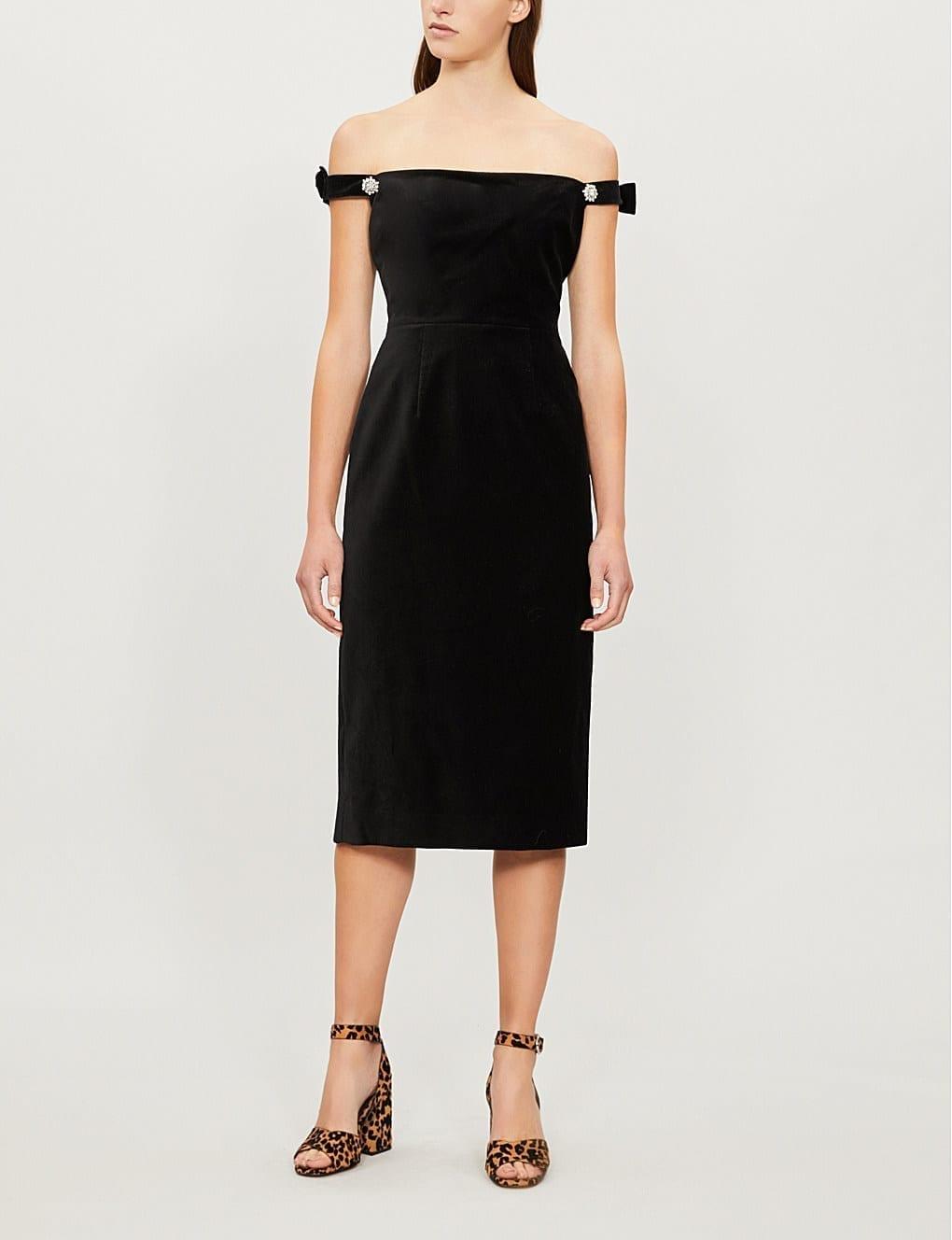 ALEXACHUNG Off The-shoulder Cotton Velvet Black Dress