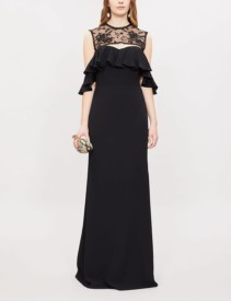 ALEXANDER MCQUEEN Lace Panel Crepe And Silk Black Gown
