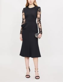 ALEXANDER MCQUEEN Lace Sleeve Crepe And Silk Black Gown