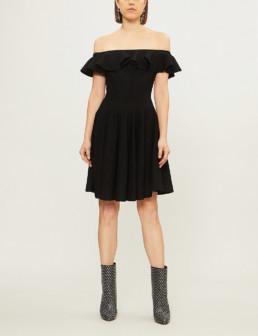 ALEXANDER MCQUEEN Off The Shoulder Knitted Mini Black Dress