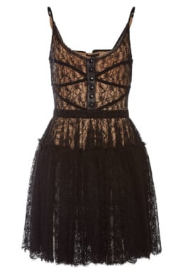 ALEXANDER WANG Lace And Leather Bodice Black Dress