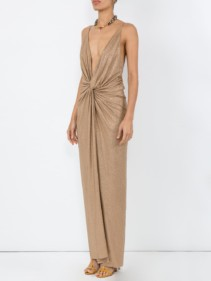 ALEXANDRE VAUTHIER Crystalized Evening Beige Gown