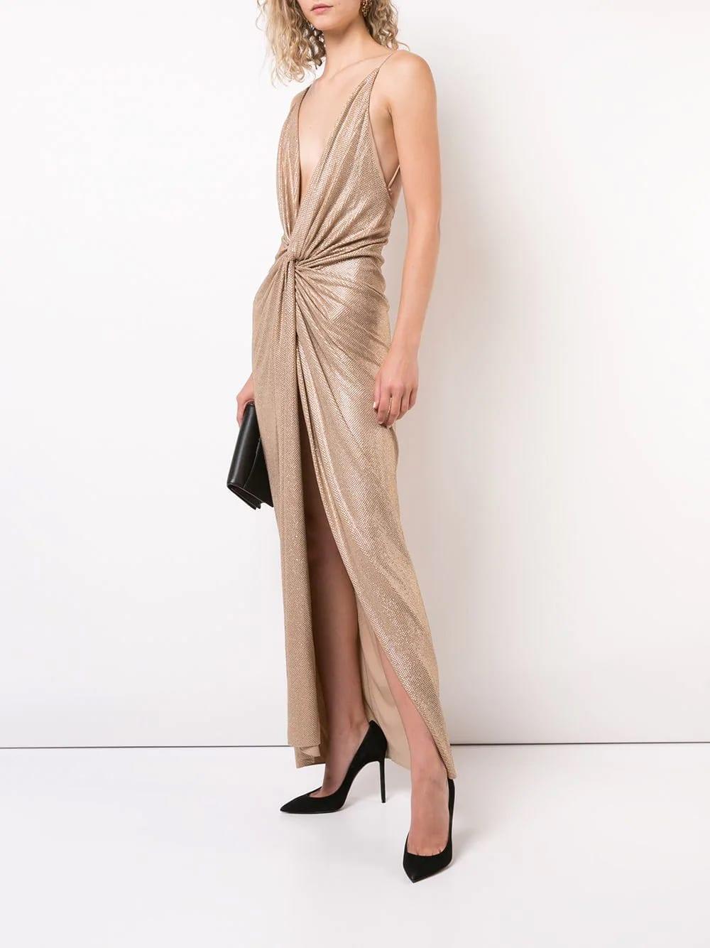ALEXANDRE-VAUTHIER-Metallic-Studded-Evening-Gold-Gown