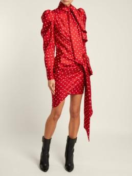 ALEXANDRE VAUTHIER Polka Dot Print Silk Twill Mini Red Dress