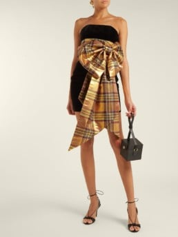 ALEXANDRE VAUTHIER Tartan Bow Trim Velvet Black Dress