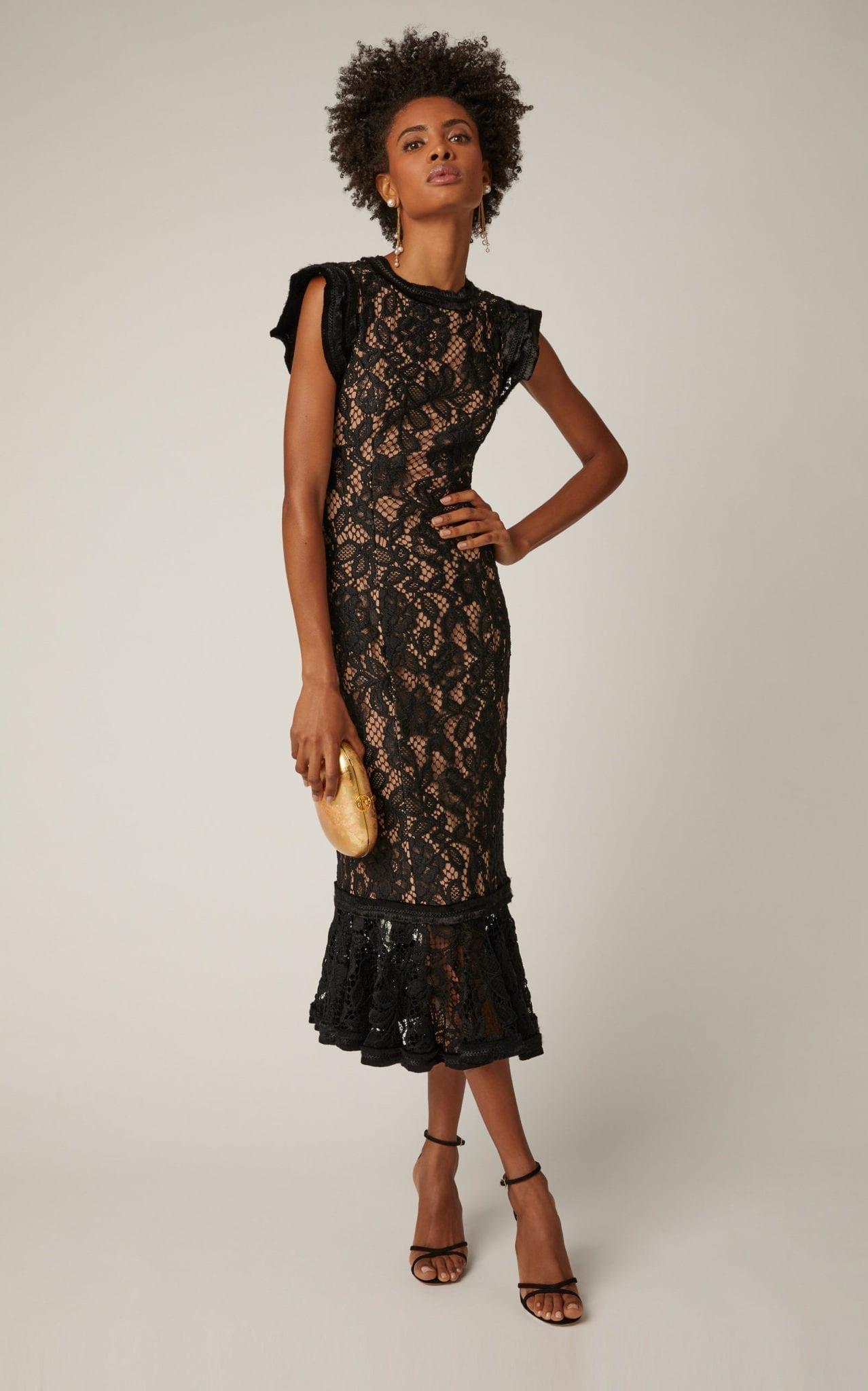 ALEXIS Kleo Lace Midi Black Dress