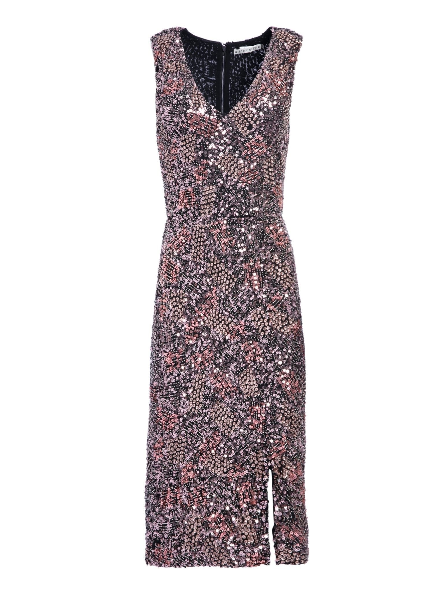 Alice And Olivia Natalie Sequin Midi Rose Gold Dress
