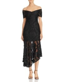 ALICE MCCALL Fleur Off-the-Shoulder Lace Black Dress