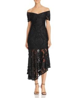 ALICE MCCALL Fleur Off-the-Shoulder Lace Black Dress