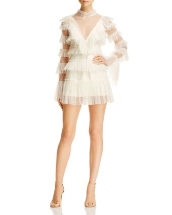 ALICE MCCALL Zen Ruffled Mini Creme Dress