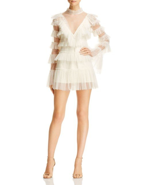 ALICE MCCALL Zen Ruffled Mini Creme Dress