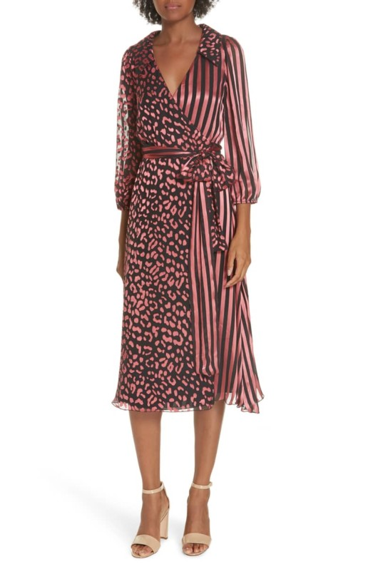 ALICE + OLIVIA Abigail Wrap Rose Dress