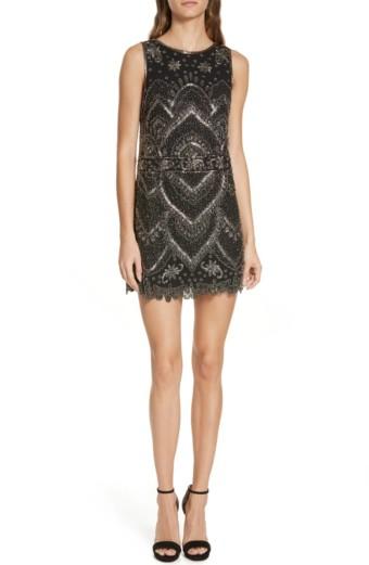 ALICE + OLIVIA Clyde Embellished A-Line Mini Black Dress