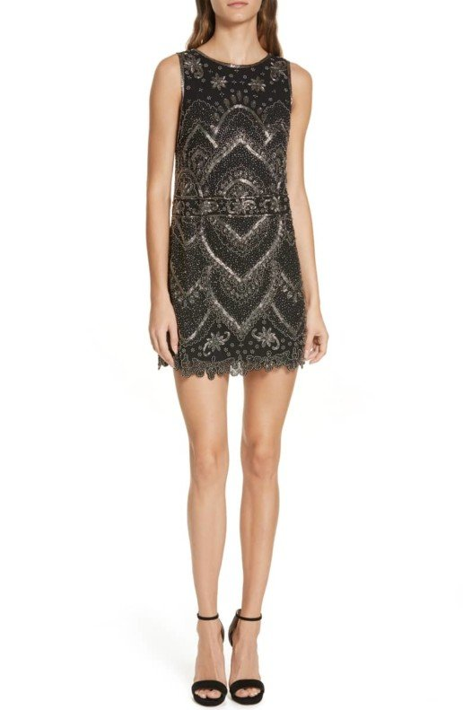 ALICE + OLIVIA Clyde Embellished A-Line Mini Black Dress