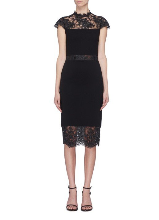 ALICE + OLIVIA 'Kim' Chantilly Lace Panel Black Dress