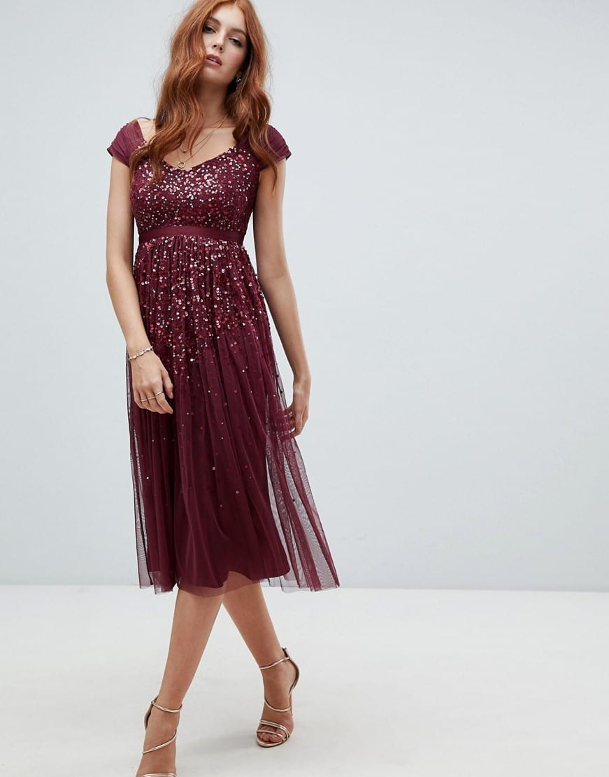 AMELIA ROSE Embellished Ombre Sequin Cami Strap Midi Berry Dress