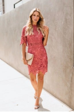 ANDYLIZ BOUTIQUE Rose Crochet Overlay Pink Dress