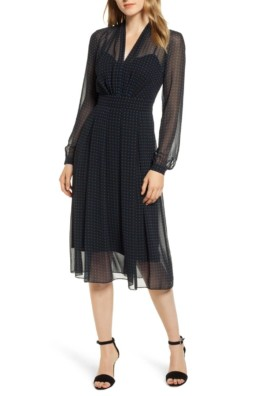 ANNE KLEIN Print Chiffon Black Dress