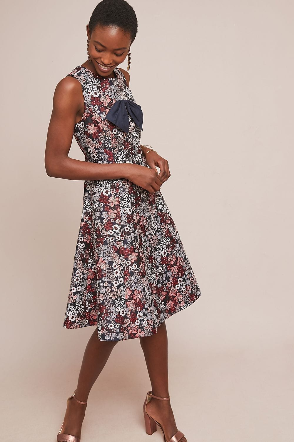 07f93514680 ANTHROPOLOGIE Bow-Tied Red   Floral Printed Dress - We Select Dresses