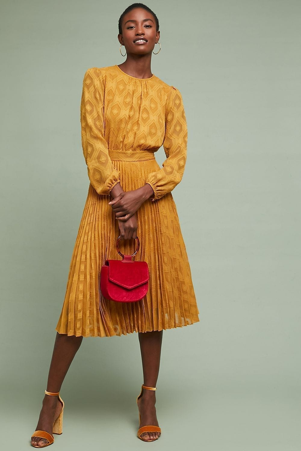 ANTHROPOLOGIE Sunglow Pleated Gold Dress