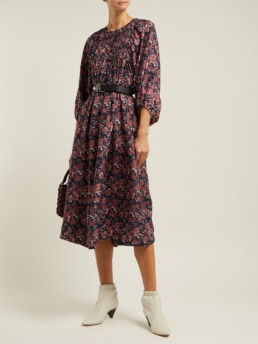 APIECE APART Femek Silk Midi Navy Dress