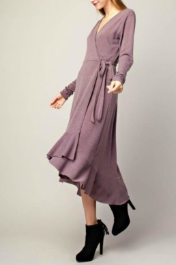 APRICOT LANE - ANCHORAGE Ruffled Wrap Purple Dress