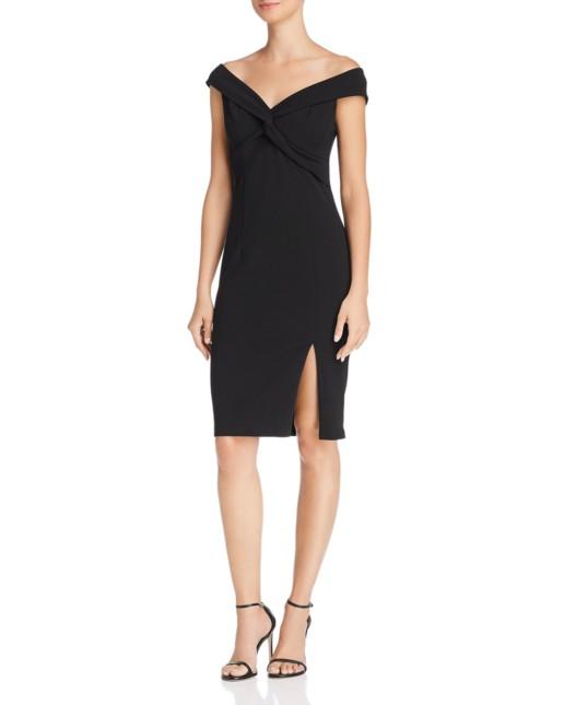 AQUA Portrait Collar Twist-Front Black Dress