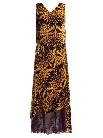 ARIES Leopard Print Velvet Midi Yellow Dress