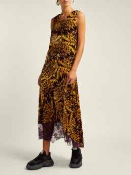 ARIES Leopard Print Velvet Midi Yellow Dress