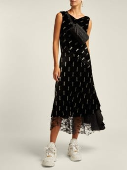 ARIES Logo Print Velvet Black Dress