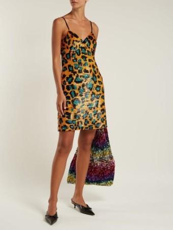 ASHISH Leopard Sequin-Embellished Georgette Mini Orange Dress