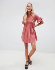 ASOS DESIGN Cotton Slubby Frill Sleeve Smock Rose Dress
