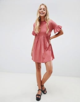 ASOS DESIGN Cotton Slubby Frill Sleeve Smock Rose Dress