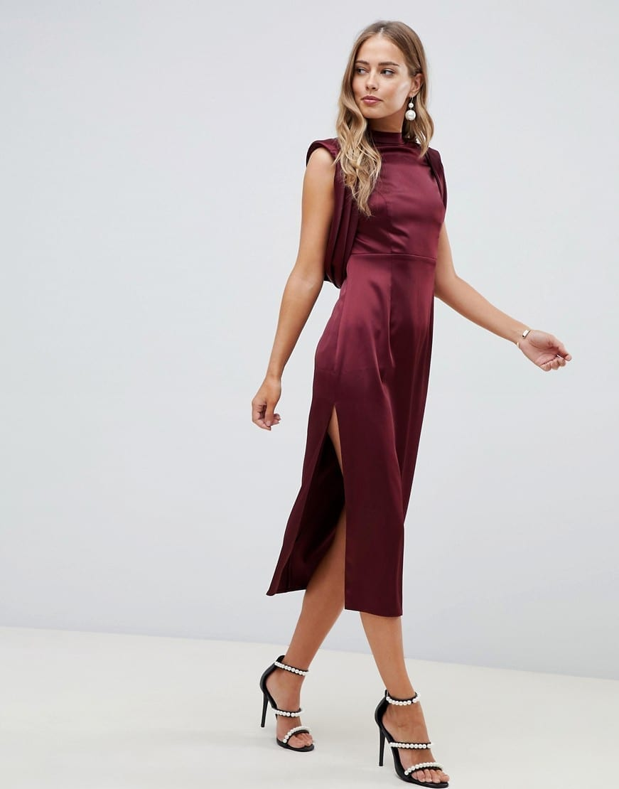 ASOS DESIGN Drape Armhole And Side Split Satin Midi Burgundy Dress